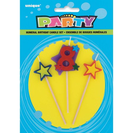 Stars & Number 8 Birthday Candles Set, 4 in, Multicolor, 3pc - Birthday Numbers