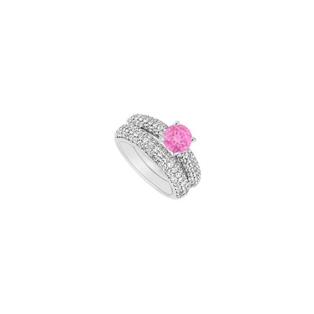 14K White Gold Pink Sapphire and Diamond Engagement Ring with Wedding Band Set 1.80 CT TGW - image 2 de 2