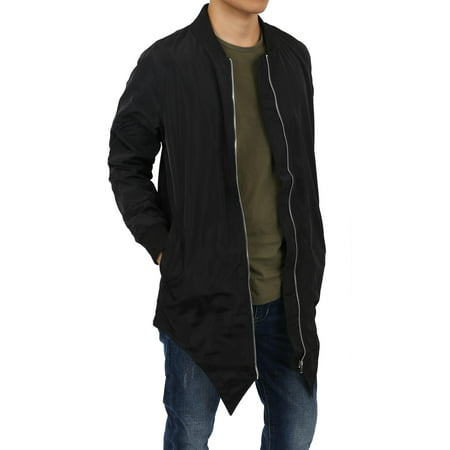 Mens Long Tail Jacket Lightweight Casual Bomber Windbreaker Collarless Slim Coat Outerwear