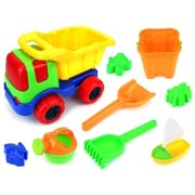 Sunny Dump Truck Children's Kid's Toy Beach Sandbox Truck Playset w/ Toy Truck, Hand Tools, Sand Molds, Bucket, Watering Can (Colors May Vary)