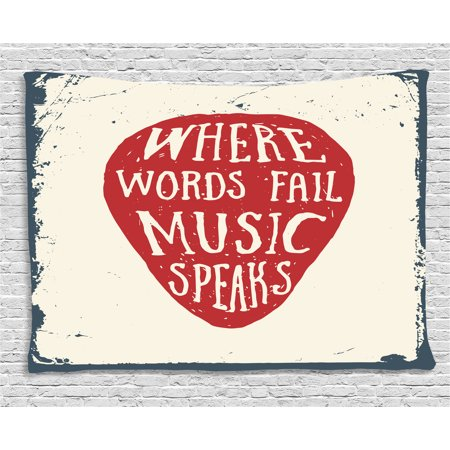 Rock Music Tapestry, Where Words Fail Music Speaks Quote Musical Slogan Hand Drawn Pick, Wall Hanging for Bedroom Living Room Dorm Decor, 80W X 60L Inches, Beige Red Slate Blue, by Ambesonne