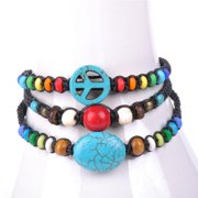 Wink International Handmade Thai-handicraft Set of 3 Turquoise Red Coral and Multicolored Wooden Beads Waxcord Bracelets (Thailand)