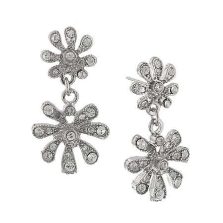 (1928 Jewelry Silver-Toned Crystal Double Flower Vintage Costume Drop Earrings)