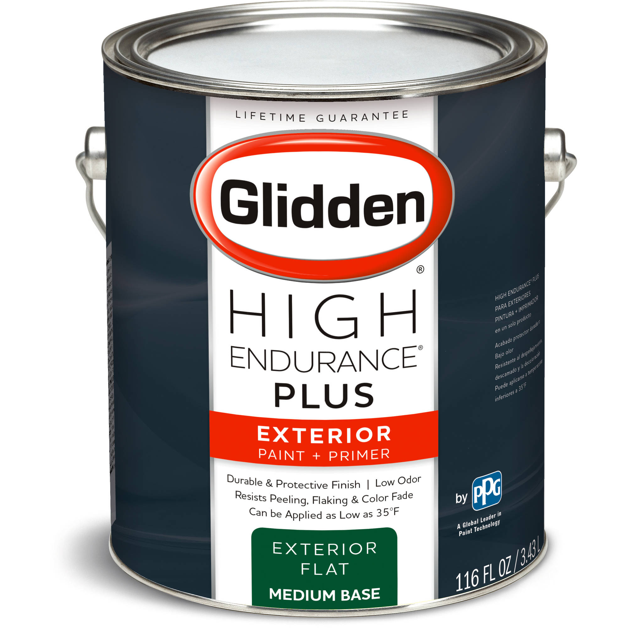 Glidden High Endurance Plus, Exterior Paint and Primer, Flat Finish, Medium Base, 1 Gallon