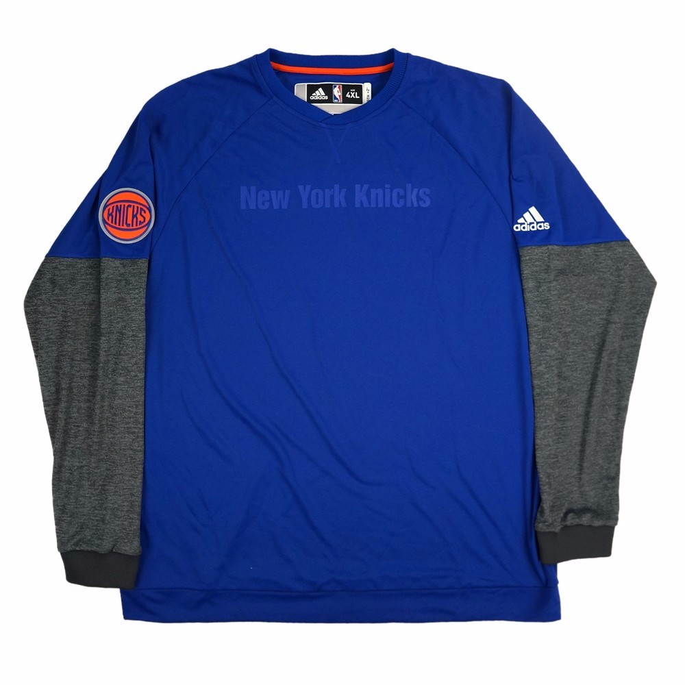 New York Knicks NBA Adidas Blue 2016 Christmas Day Team Issued Secon Half Pullover Pro Cut Crew Shirt For Men (4XLT)