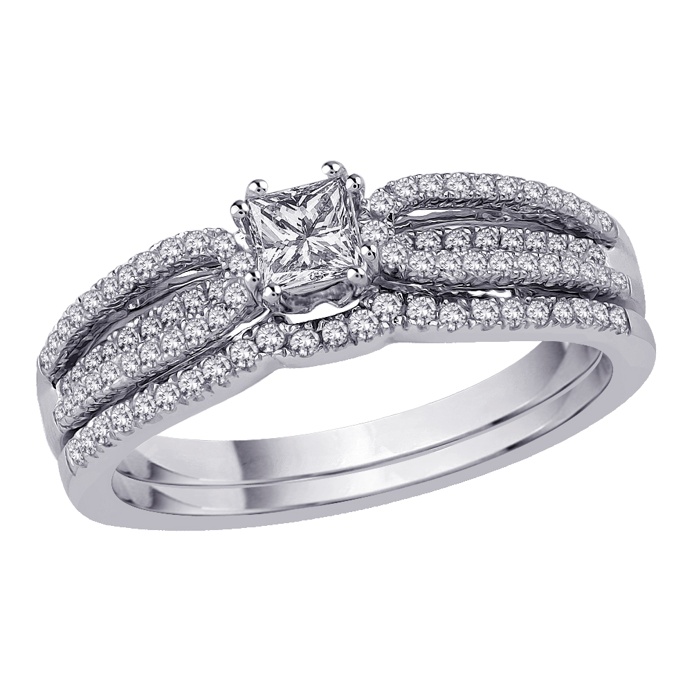 14K White Gold 5/8 ct. Diamond Bridal Engagement Set with Princess Cut Center Diamond