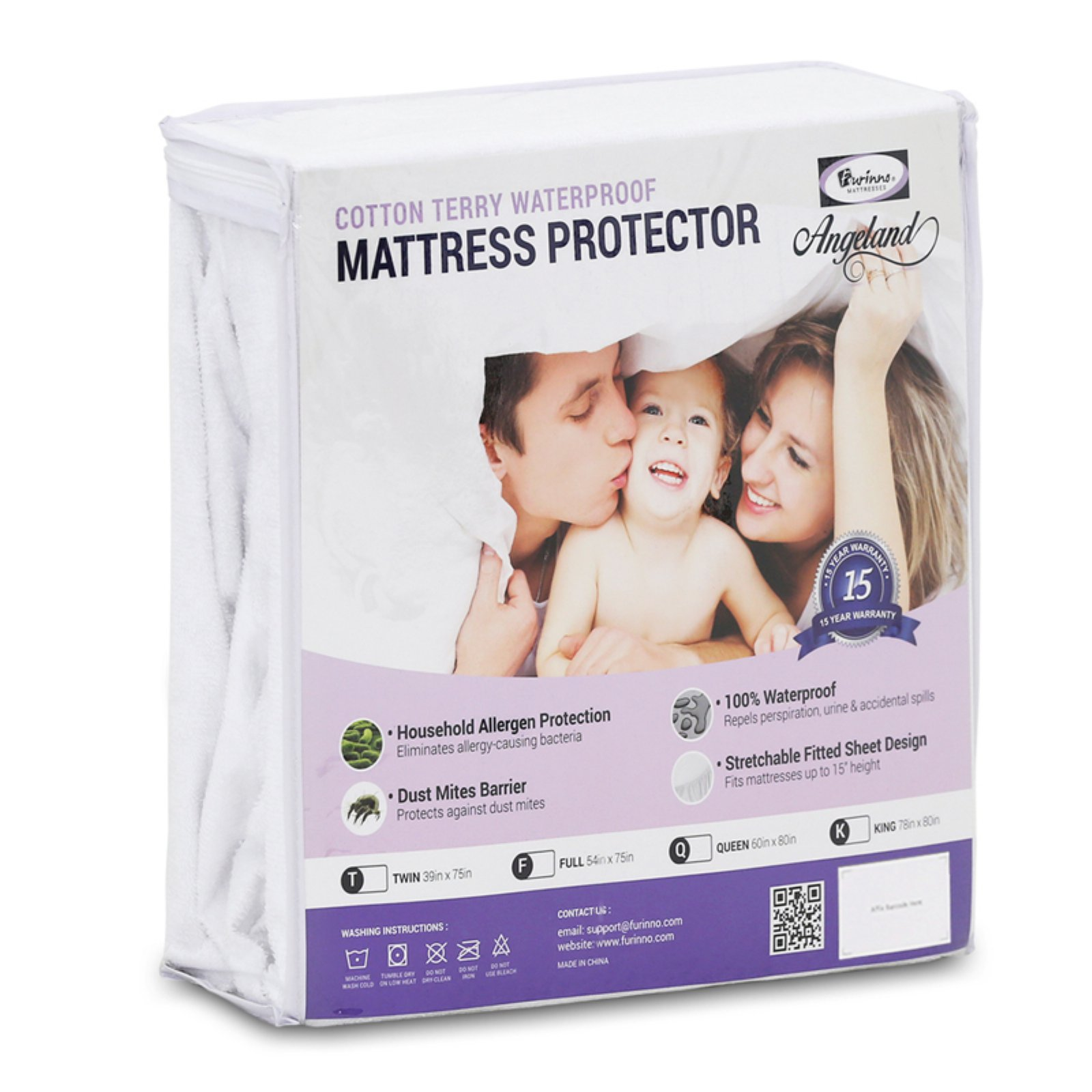 Furinno Angeland Terry Cloth Waterproof Mattress Protector
