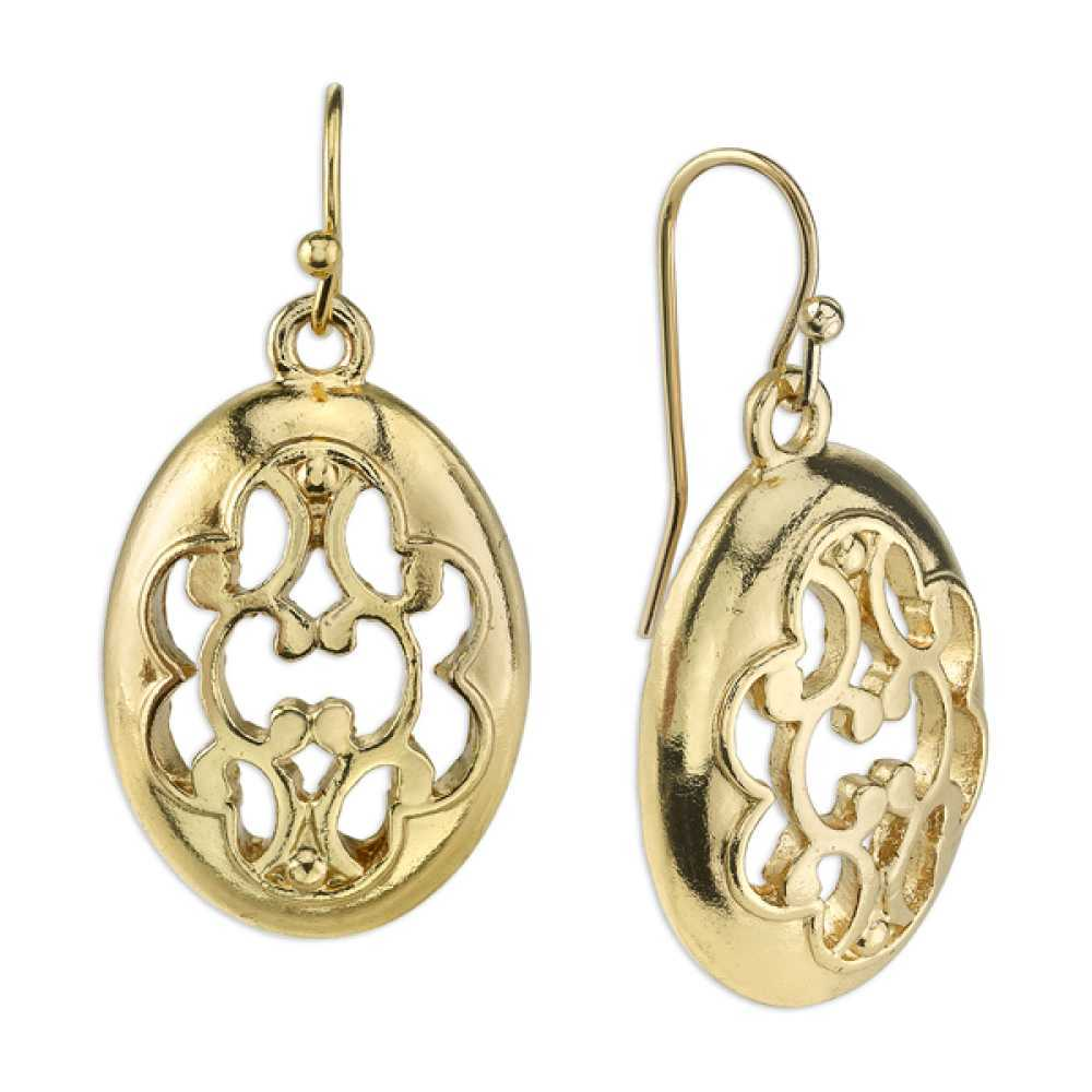 1928 Jewelry Womens Alloy Gold-Tone Oval Filigree Vintage Costume Drop Earrings