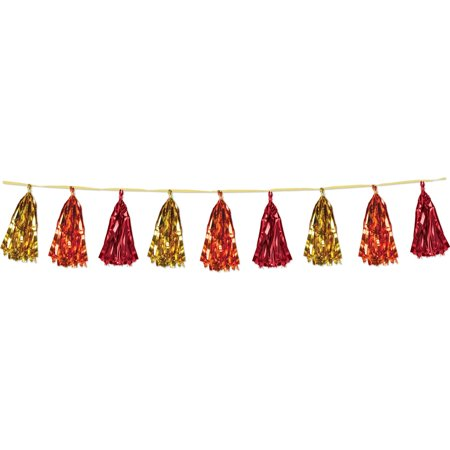 Club Pack of 12 Decorative Holiday Gold, Orange and Red Metallic Tassel Garland 8'