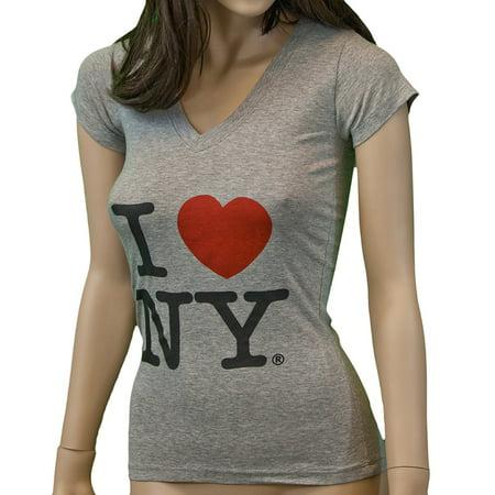 I Love NY New York Womens V-Neck T-Shirt Spandex Heart Gray Small