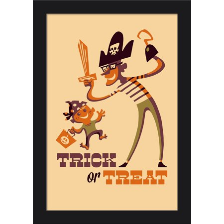 Trick or Treat - Dad & Son - Retro Halloween - Lantern Press Artwork (12x18 Giclee Art Print, Gallery Framed, Black Wood)](Halloween Costumes For Dad And Son)