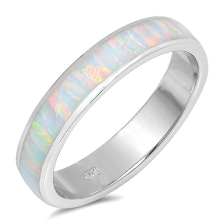 Opal Wedding Band.Sac Silver Choose Your Color White Simulated Opal Wide Men S Wedding Ring New 925 Sterling Silver Band White Simulated Opal Ring Size 6