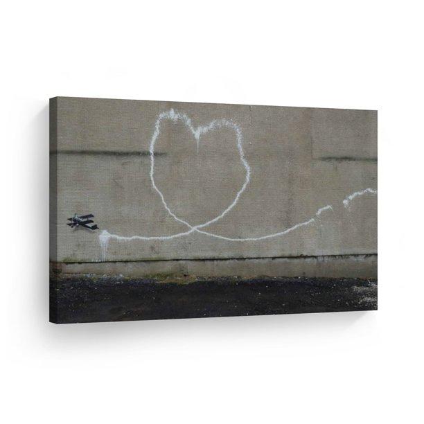 Smile Art Design Banksy Canvas Wall Art Print Love Plane Street Art Painting Heart Shape Mural