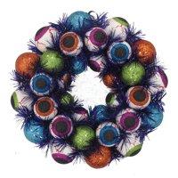Eyeball Foam with Black Tinsel Halloween Wreath