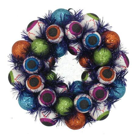 Eyeball Foam with Black Tinsel Halloween (Halloween Wreaths)