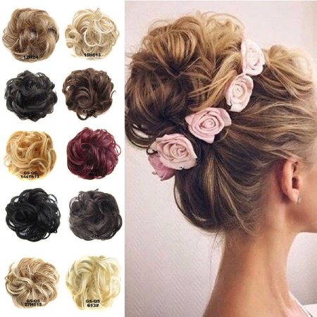 Women Ladies Fashion Curly Messy Bun Hair Piece Hair Scrunchie Fake Natural Look Extensions Hairpiece