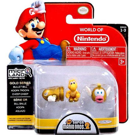 Gold Bullet Bill, Koopa Troopa & Cheep Cheep Mini Figure 3-Pack