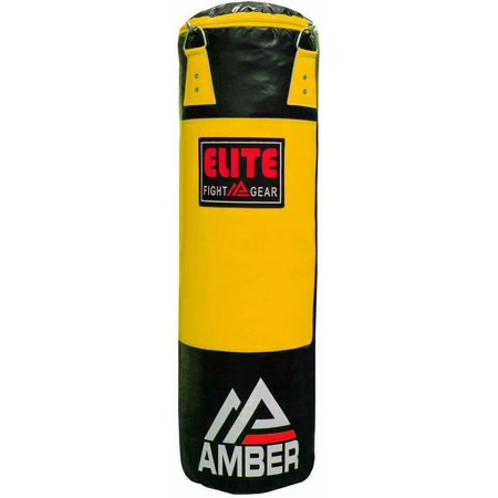 Amber Elite Boxing Unfilled Heavy Bag Kickboxing MMA Muay Thai Fitness Workout Training Yellow/Black, 100 lb Elite Training Bag