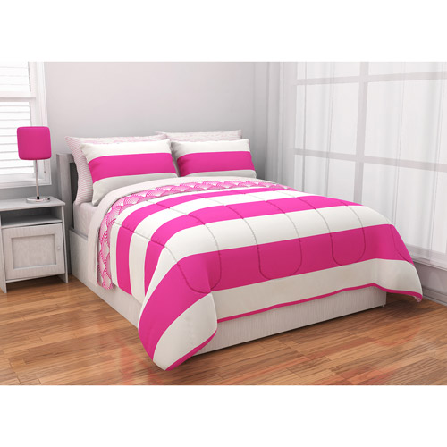 Latitude Rugby Stripe Reversible Complete Bedding Set, Pink