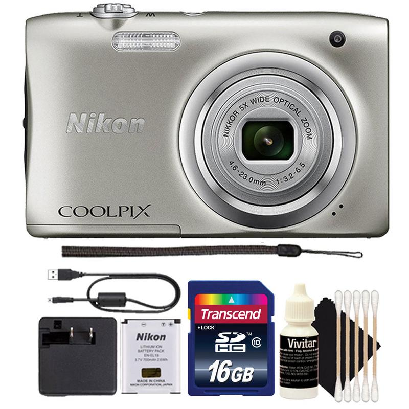 Nikon Coolpix A100 20.1MP 5x Optical Zoom Compact Digital Camera (Silver) 16GB Card Gift Set