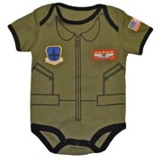 """""""Future Pilot"""" Baby Bodysuit Airman Flight Suit 9-12M"""