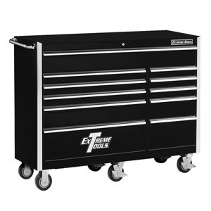 extreme tools ex5611rcbk 11 drawer roller cabinet with ball bearing slides, 56-inch, black high gloss powder coat finish