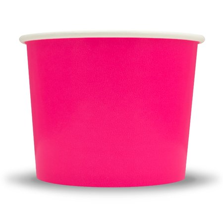 Frozen Dessert Supplies 16 oz Pink Ice Cream Cups - Comes In Many Colors & Sizes! Fast Shipping! 50 Count