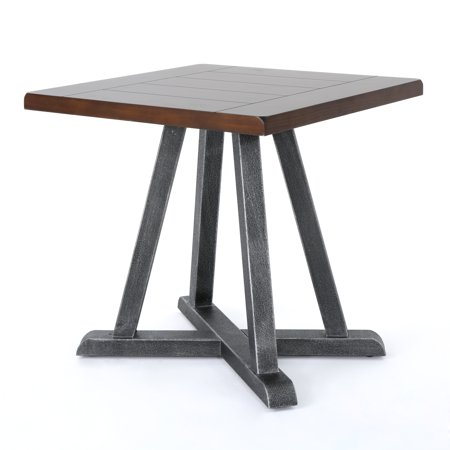 Orphium Industrial Faux Wood End Table with Antique Black Iron Frame, Rustic Finish