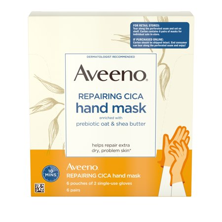 Aveeno Repairing CICA Hand Mask, Oat & Shea Butter, 6 Pairs of Gloves (Hand Lotion Gloves)
