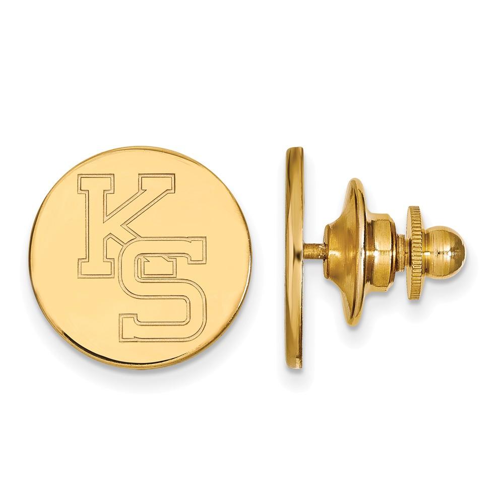 Solid 14k Yellow Gold Kansas State University Lapel Pin (15mm x 15mm)
