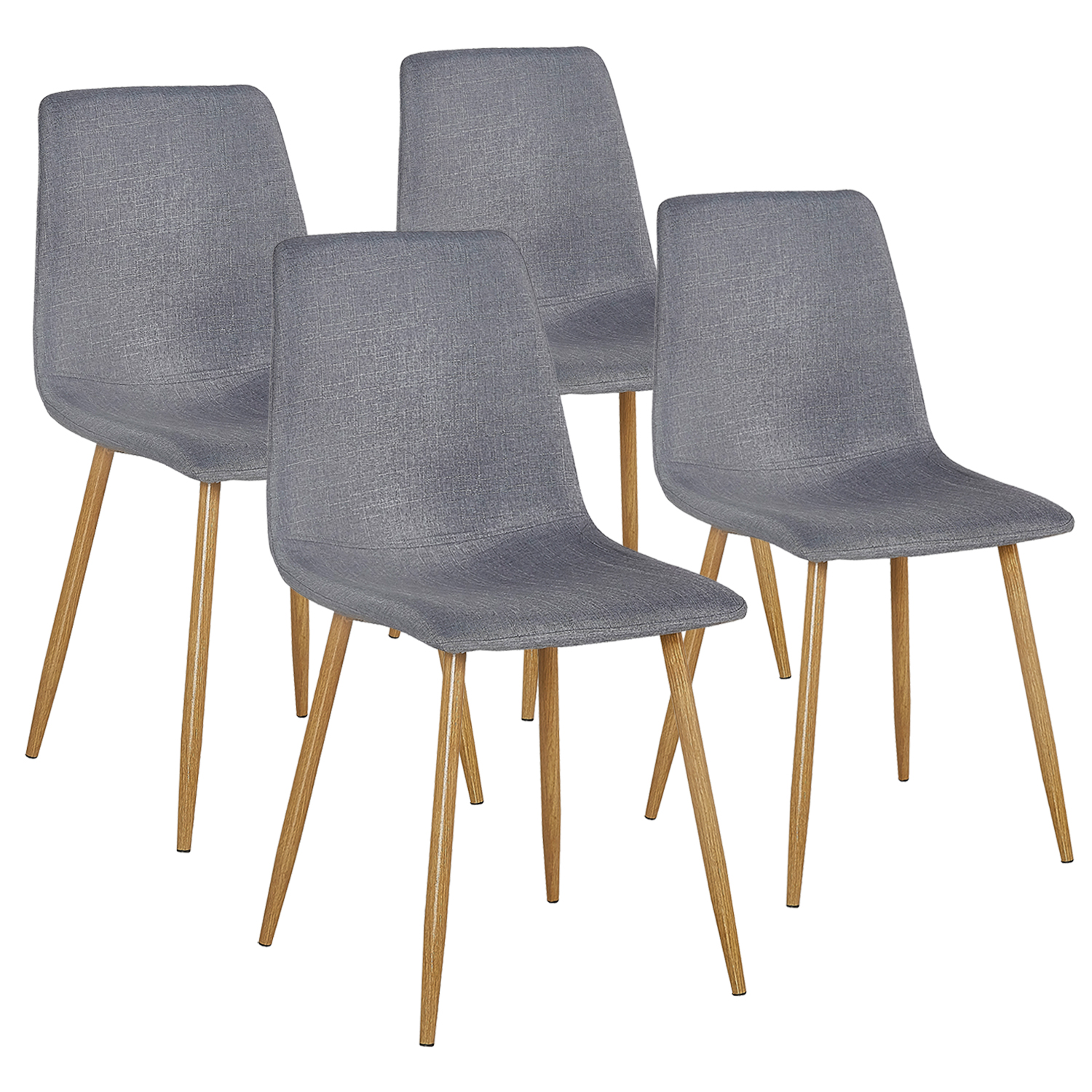 Vecelo Set of 4 Eames Dining Side Chairs,Modern Cushion Back Chairs Wooden Legs,Gray