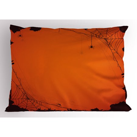 Spider Web Pillow Sham Grunge Halloween Composition Scary Framework with Insects Abstract Cobweb, Decorative Standard Size Printed Pillowcase, 26 X 20 Inches, Orange Brown, by Ambesonne - Abstract Halloween
