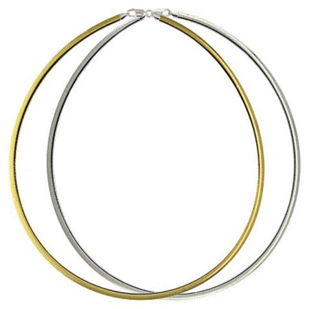 Sterling Silver Italian Chain Necklace 2mm 14K Gold Plated 2 Tone Reversible Flat Omega Chain ( 16, 18, 20 Inch ) - 16