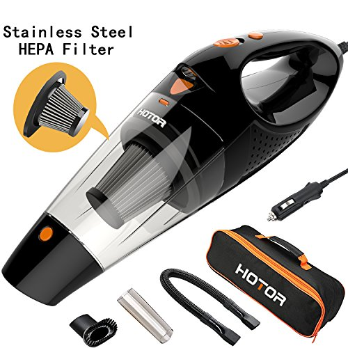 [4th Gen] HOTOR Car Vacuum, DC 12V Car Vacuum Cleaner High Power with Stronger Suction, Potable Handheld Auto Vacuum Cleaner for Car with LED Light, Carrying Bag, HEPA Filter - Black & Orange