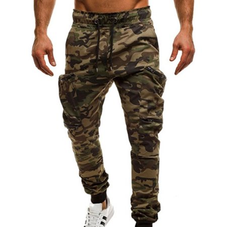 Men's Sports Camo Harem Jogging Stretchy Pockets Drawstring Gym Pants