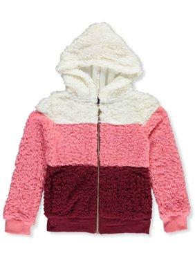 Chillipop Girls' Striped Sherpa Hooded Jacket
