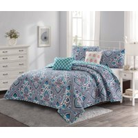 Merriam 5 piece Quilt Set Blue/Coral Full/Queen