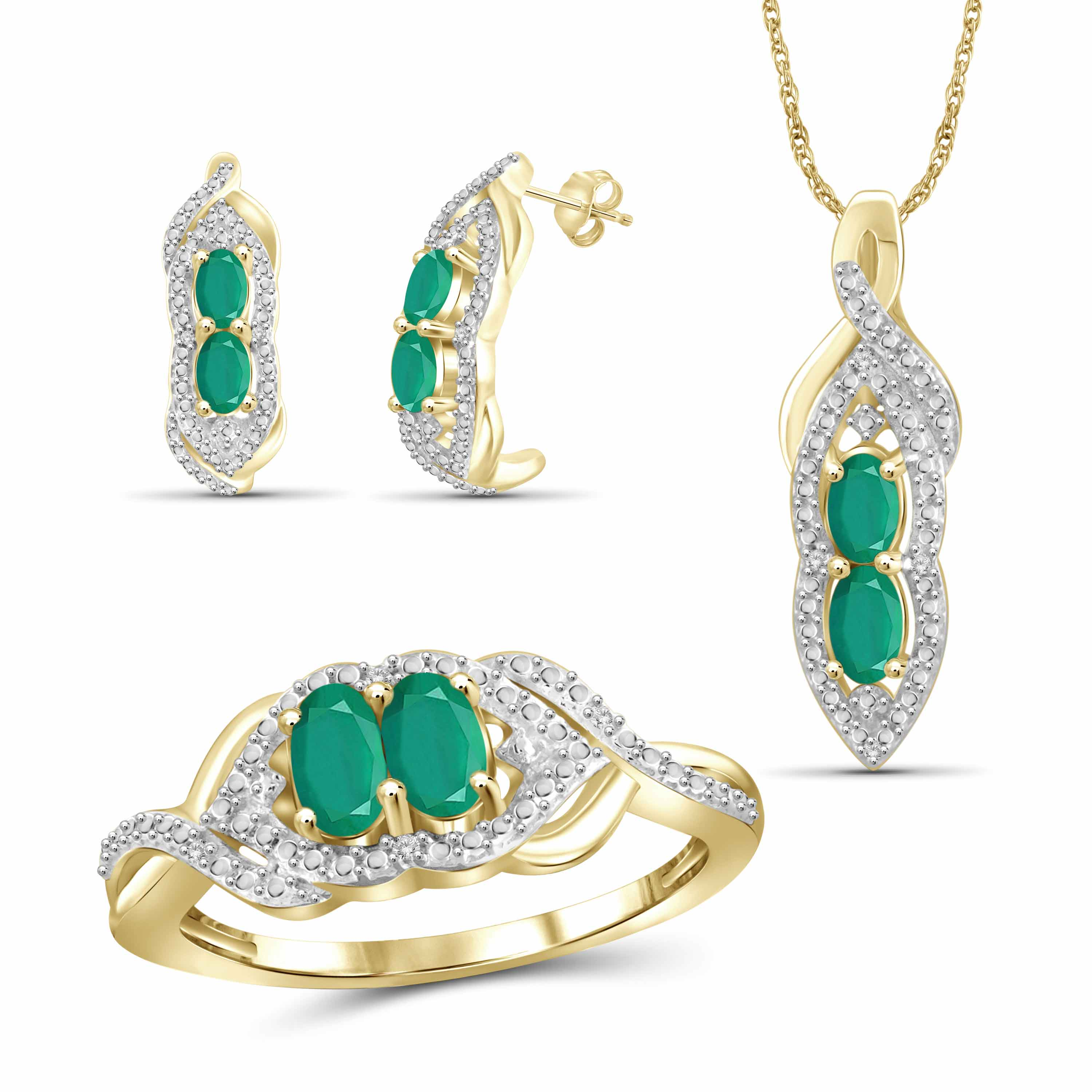 JewelersClub 1 3/4 Carat T.G.W. Emerald And White Diamond Accent 14K Gold over Silver 3-Piece Jewelry set