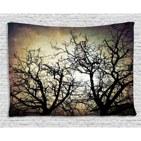 Horror Tapestry, Scary Twilight Scene with Grunge Tree Branch Silhouette over Dirty Night Sky Image, Wall Hanging for Bedroom Living Room Dorm Decor, 60W X 40L Inches, Sepia Black, by Ambesonne (Scary Silhouette)