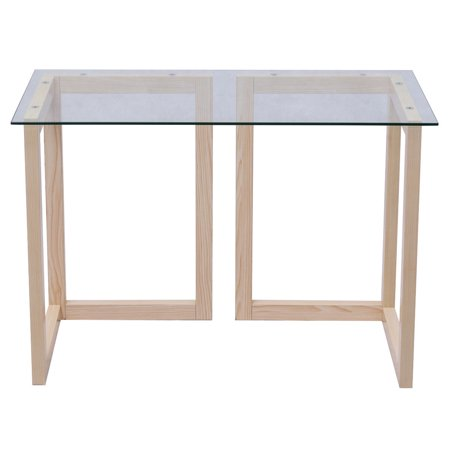 Glass Top Amp (Gymax 44'' Tempered Glass Top Console Desk Sofa Accent Table Wood Entryway Furniture )