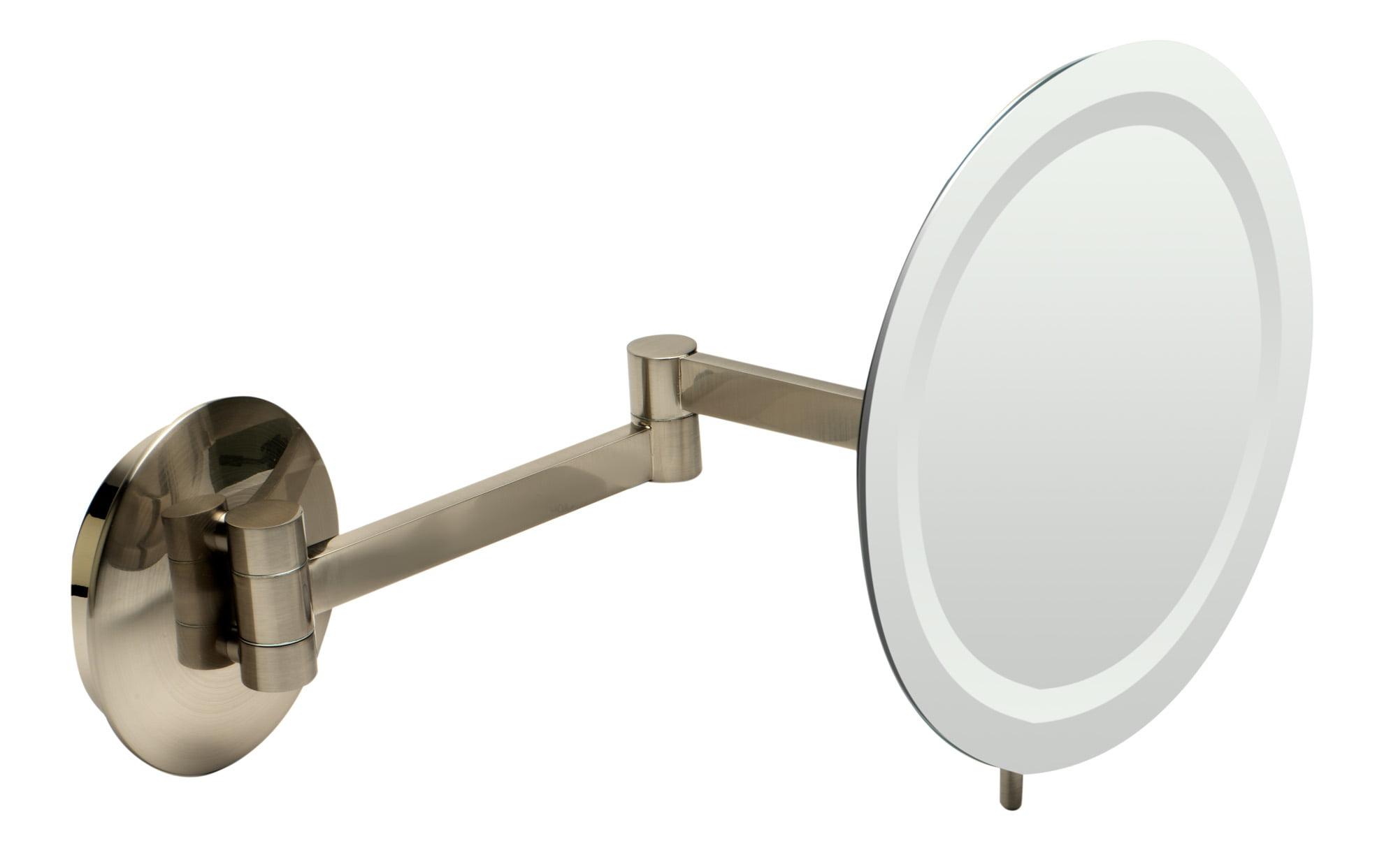 Alfi Brand Abm9wled Bn Brushed Nickel Wall Mount Round 9 5x Magnifying Cosmetic Mirror With Light Walmart Com Walmart Com