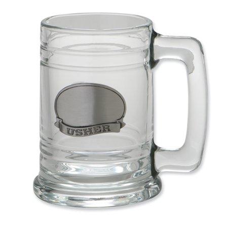 Stainless Steel Engraveable Usher Plate Glass Tankard - Engravable Wedding Gift - Usher In Wedding