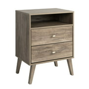 Maddie Home Enzo Mid Century Modern 2 Drawer Tall Nightstand in Drifted Gray