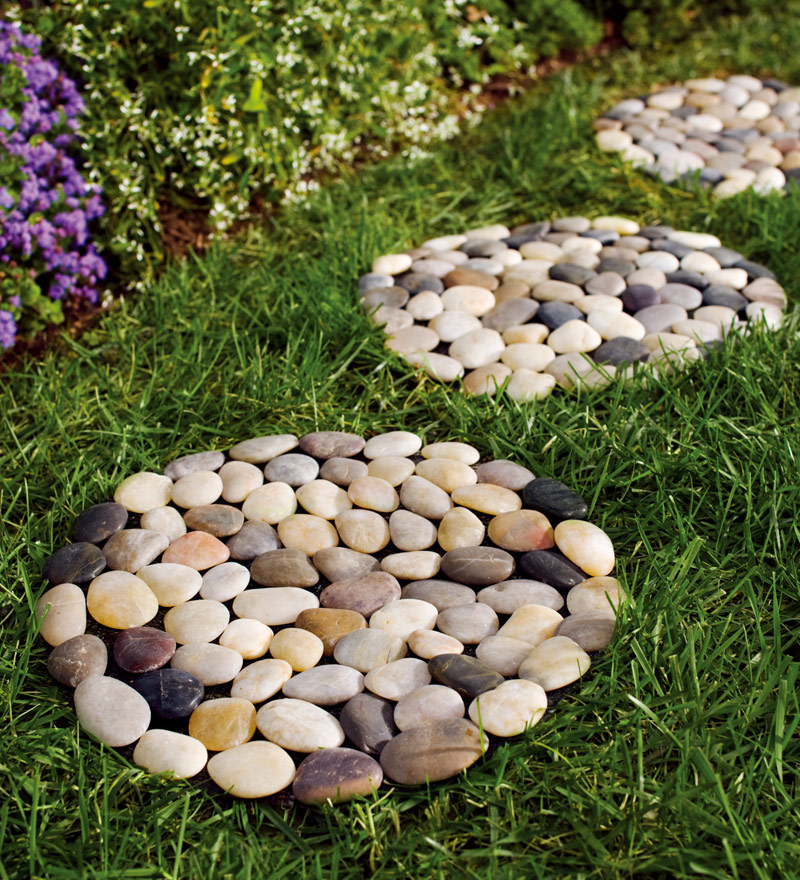 Set of 3 Indoor   Outdoor Multicolored River Rock Stepping Stones by Plow & Hearth