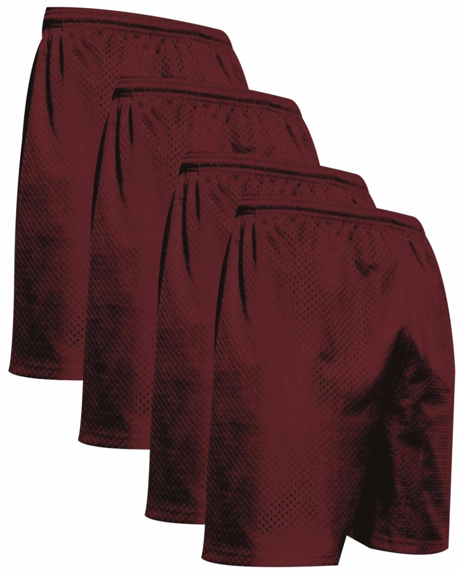 """VALUE PACK  > BUY 2 GET 2 FREE >  4 PACK > THE RAM BRAND > Men's  9"""" Performance Pro Mesh Gym Champ Shorts (XS-4XL) $10 S/H is on the 1st Pack only. In this Pack: (XS)(4Maroon)"""