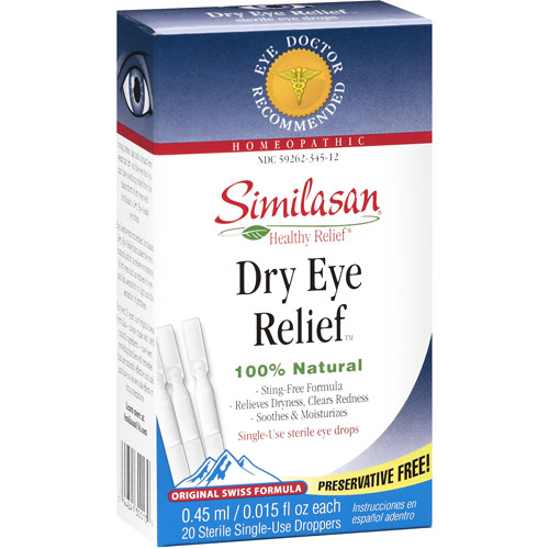 Similasan Original Swiss Formula Homeopathic Dry Eye Relief Single-Use Sterile Eye Drops, 20ct