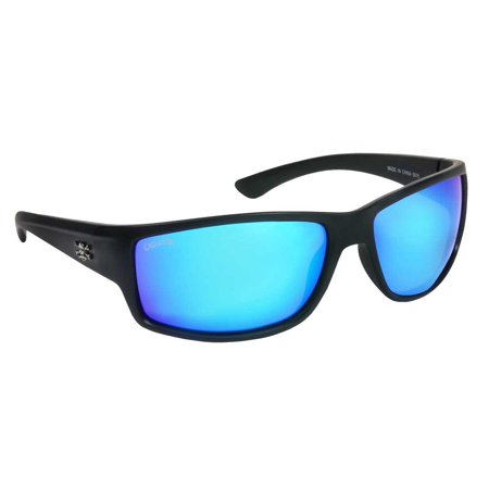 Calcutta Fishing R1BM Rip Sunglasses Matte Black Frame Blue Mirror Lens