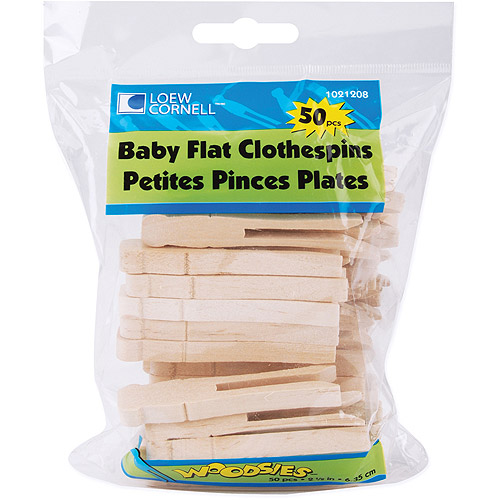 "Woodsies Baby Flat Clothespins, 2.5"", 50-Pack"