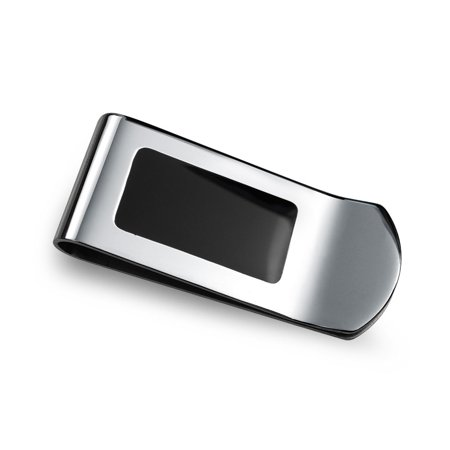 Two Tone Black Enamel Inlay Engravable Money Clip For Men Credit Card Holder Gift For Father Silver Tone Stainless (Daddy's Money)