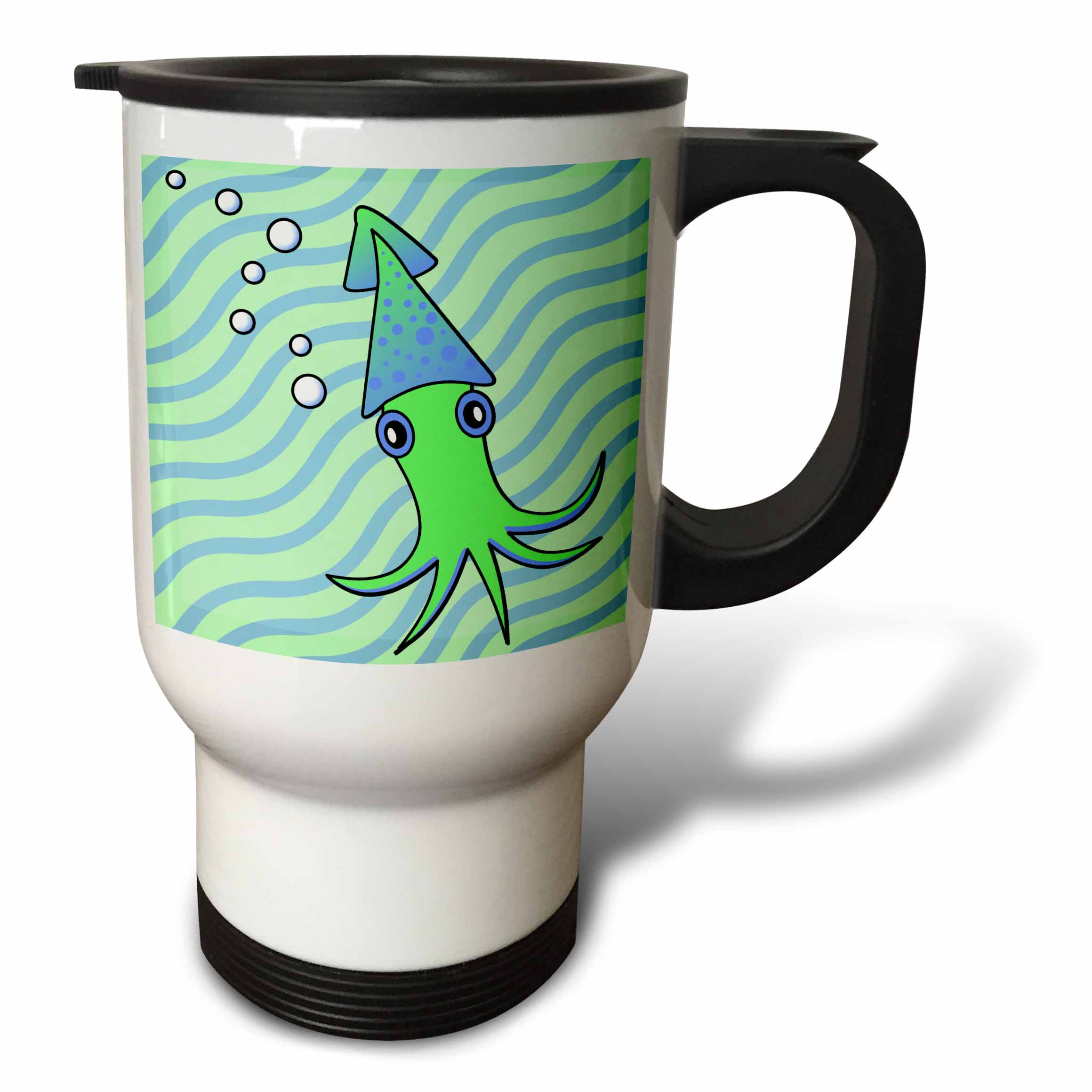 3dRose Cute Green and Blue Squid, Travel Mug, 14oz, Stainless Steel